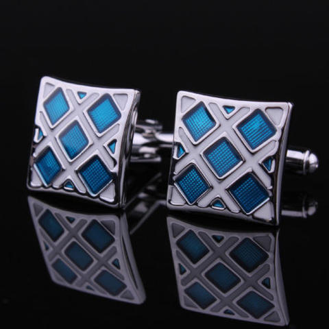 Manžetové knoflíčky modro-stříbrné - 2