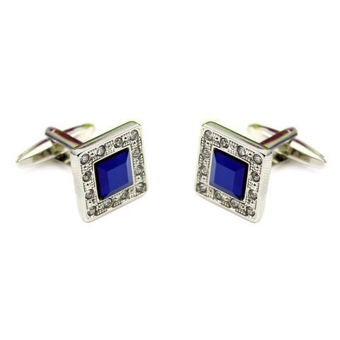 Manžetové knoflíčky modrý krystal s kamínky po okraji - 2
