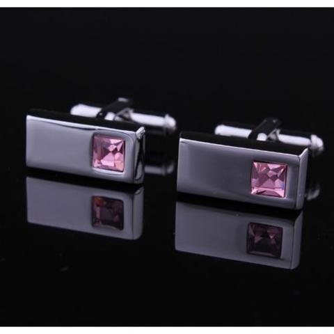 Manžetové knoflíčky obdélník růžový kámen - 2