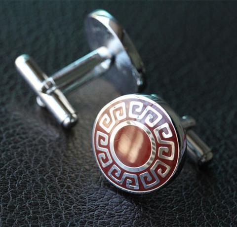 Manžetové knoflíčky řecký znak kulaté - 2