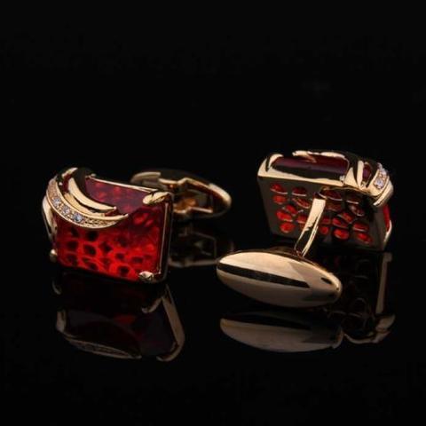 Manžetové knoflíčky rubínové barvy gold - 2