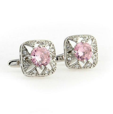 Manžetové knoflíčky růžový kamínek - 2