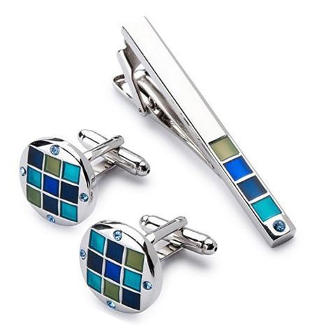 Manžetové knoflíčky se sponou na kravatu modrá mozaika - 2