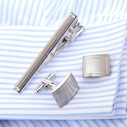 Manžetové knoflíčky se sponou na kravatu traditional - 2