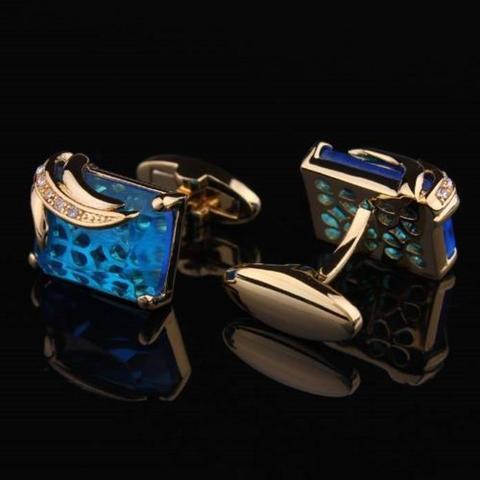 Manžetové knoflíčky světle modrý krystal - 2