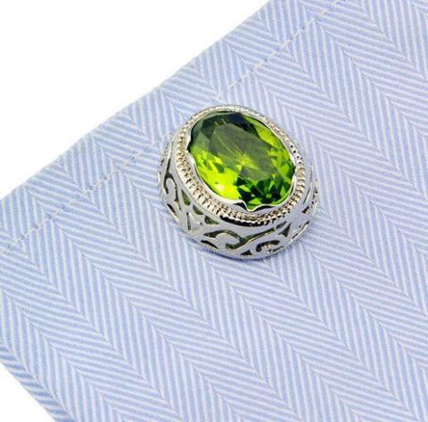 Manžetové knoflíčky zelený kámen - 2
