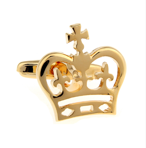 Manžetové knoflíčky s motivem královské koruny zlatá - 2