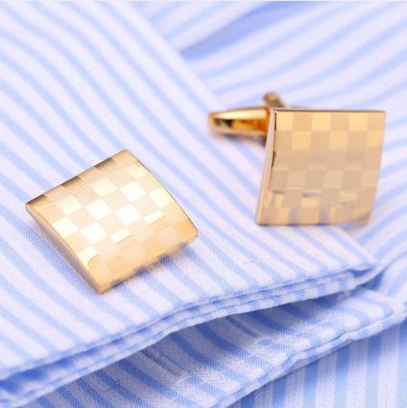 Manžetové knoflíčky zlatá šachovnice - 2