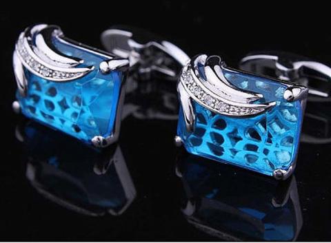 Manžetové knoflíčky modrý krystal - 2