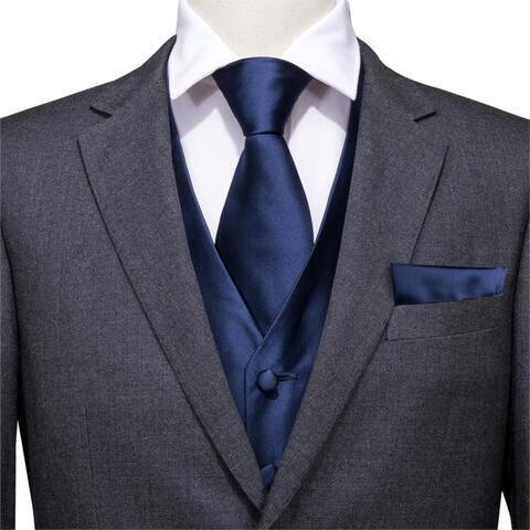 Modrá vesta k obleku s doplňky - 2