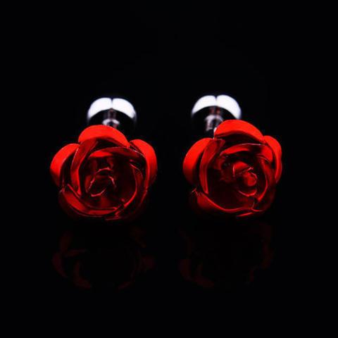 Manžetové knoflíčky rudá růžička - 3