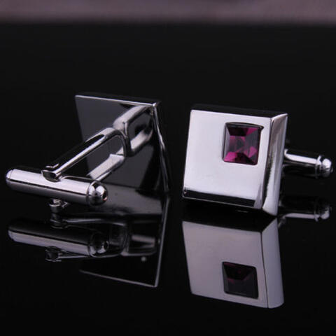 Manžetové knoflíčky - tmavě fialový krystal - 3