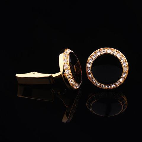 Manžetové knoflíčky kulatý černý krystal s kamínky - 3