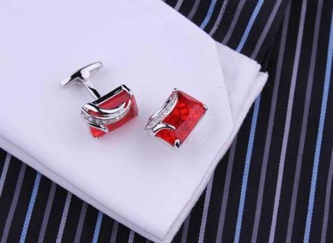 Manžetové knoflíčky rubínové barvy - 3