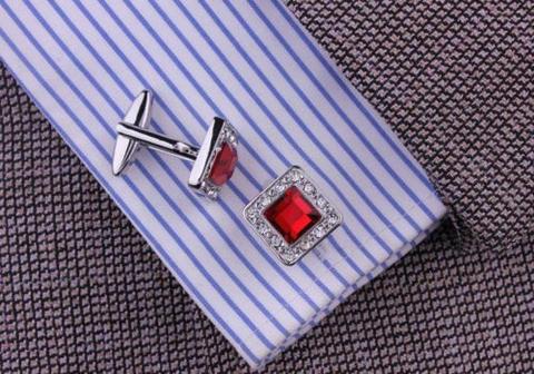Manžetové knoflíčky rudý krystal - 3