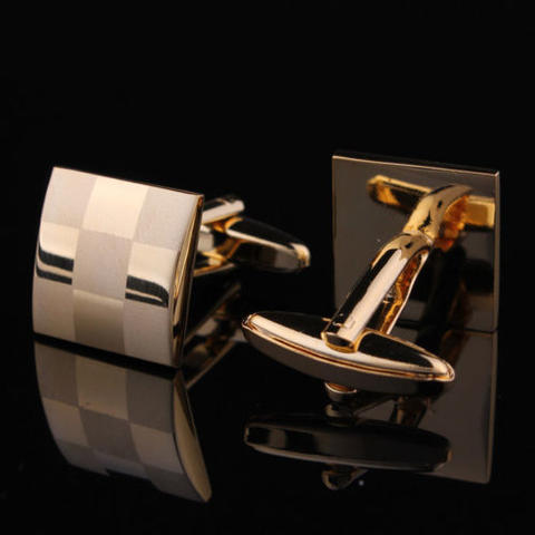 Manžetové knoflíčky šachovnice gold - 3