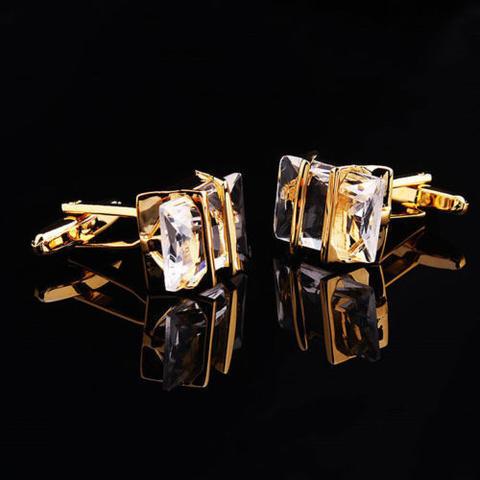 Manžetové knoflíčky Gemstone zlato-bílé - 3