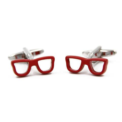 Manžetové knoflíčky červené brýle - 3