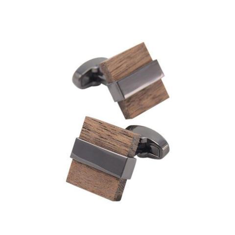 Manžetové knoflíčky dřevo čtvereček - 3