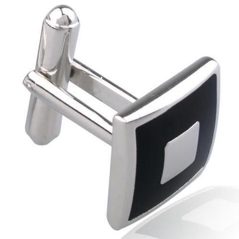 Manžetové knoflíčky černý čtverec s výplní - 3