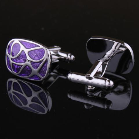 Manžetové knoflíčky fialová mozaika - 3