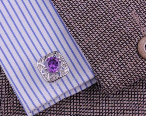 Manžetové knoflíčky fialový kámen - 3