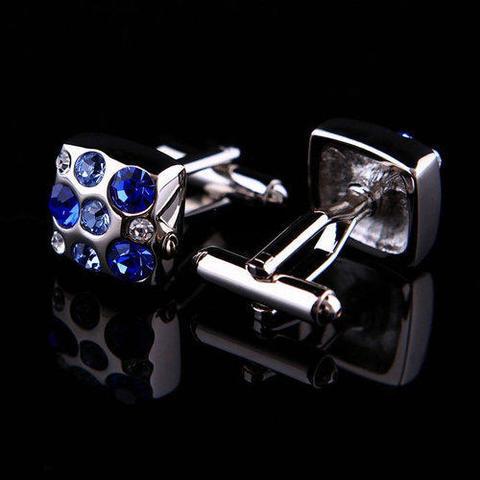 Manžetové knoflíčky s modrými kameny - 3