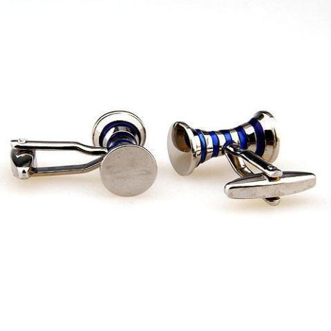 Manžetové knoflíčky modré proužky - 3