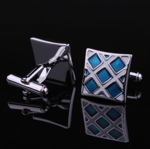 Manžetové knoflíčky modro-stříbrné - 3