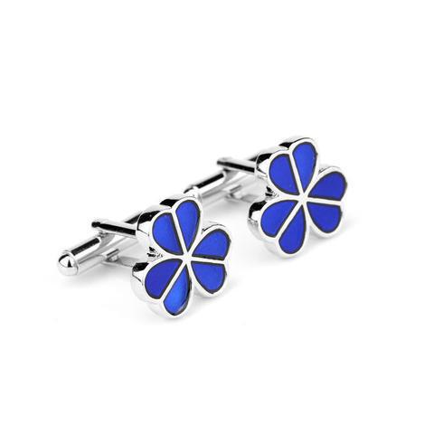Manžetové knoflíčky modrý třilístek - 3