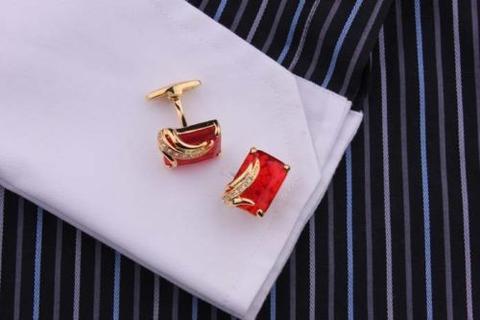 Manžetové knoflíčky rubínové barvy gold - 3