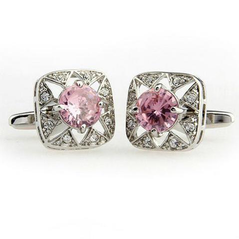 Manžetové knoflíčky růžový kamínek - 3