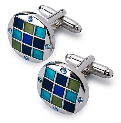Manžetové knoflíčky se sponou na kravatu modrá mozaika - 3