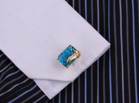 Manžetové knoflíčky světle modrý krystal - 3