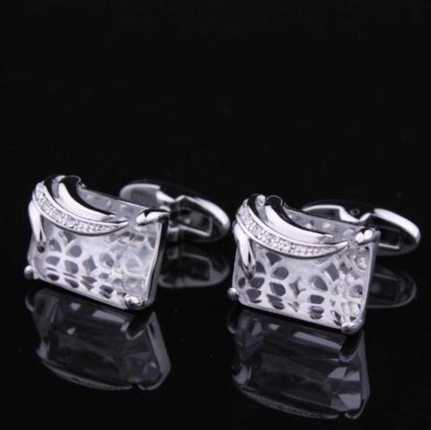 Manžetové knoflíčky průhledný krystal - 3