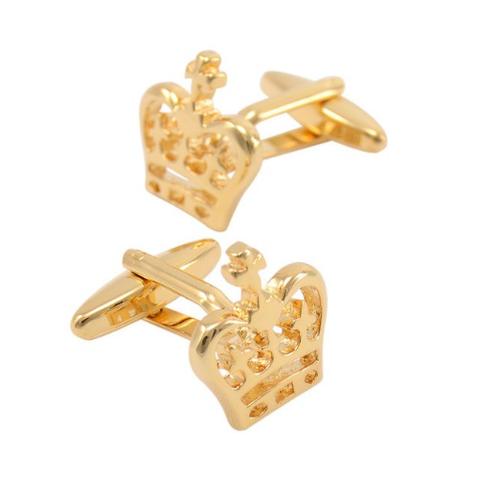 Manžetové knoflíčky s motivem královské koruny zlatá - 3