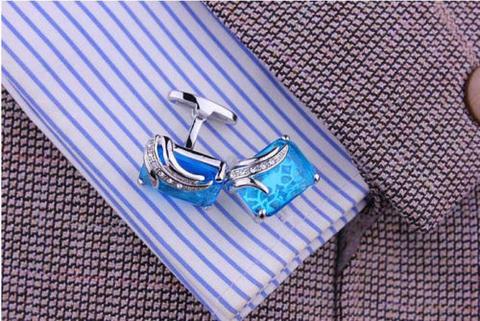 Manžetové knoflíčky modrý krystal - 3