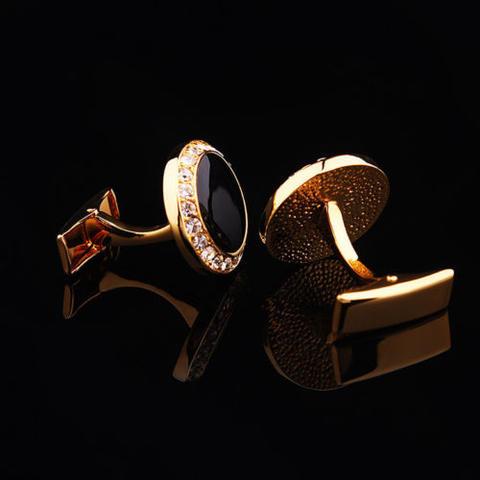 Manžetové knoflíčky kulatý černý krystal s kamínky - 4