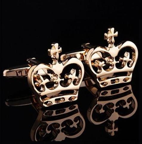 Manžetové knoflíčky s motivem královské koruny zlatá - 4