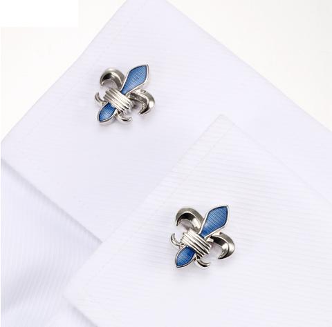 Manžetové knoflíčky Lepton Blue Fleur De Lis - 4
