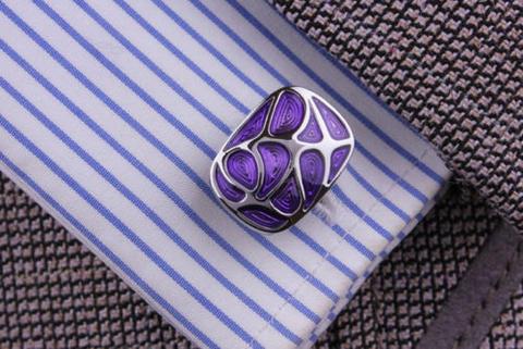 Manžetové knoflíčky fialová mozaika - 4