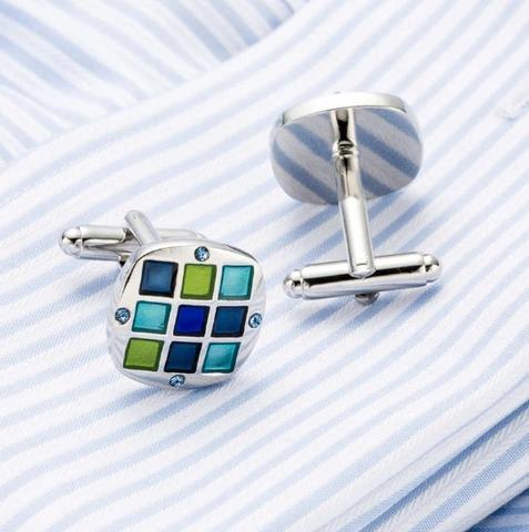 Manžetové knoflíčky se sponou na kravatu modrá mozaika - 4