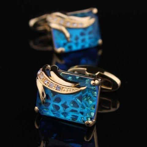 Manžetové knoflíčky světle modrý krystal - 4