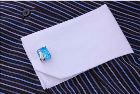 Manžetové knoflíčky modrý krystal - 4