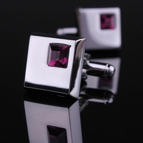 Manžetové knoflíčky - tmavě fialový krystal - 5