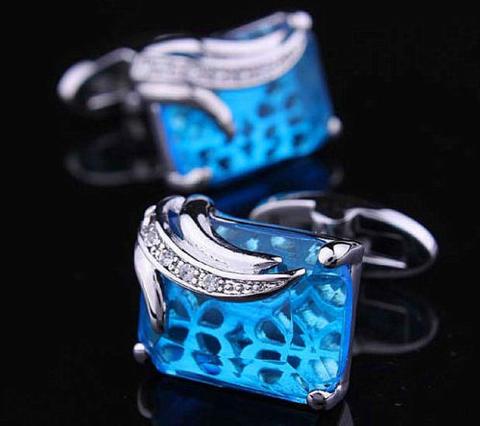 Manžetové knoflíčky modrý krystal - 5