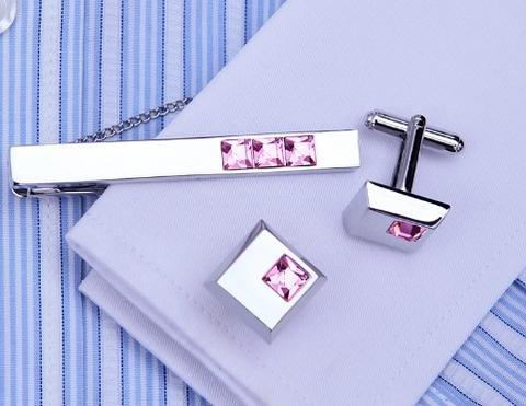 Ocelové manžetové knoflíčky s kravatovou sponou Arkansas - 5