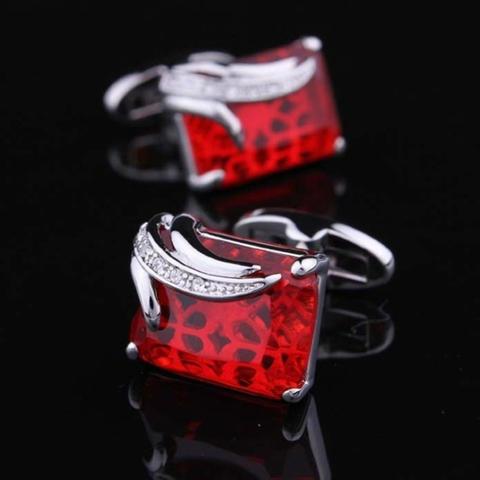 Manžetové knoflíčky rubínové barvy - 6