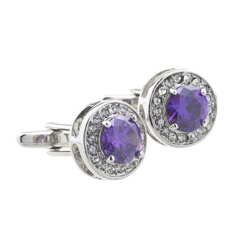 Manžetové knoflíčky fialový krystal kulatý