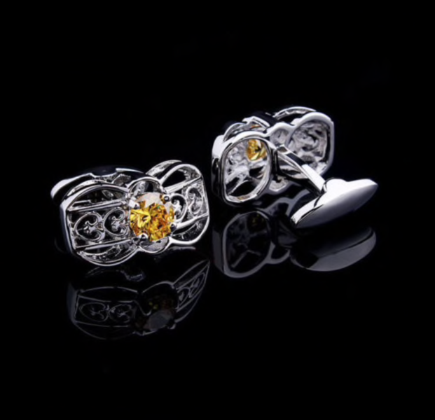 Manžetové knoflíčky žlutý krystal